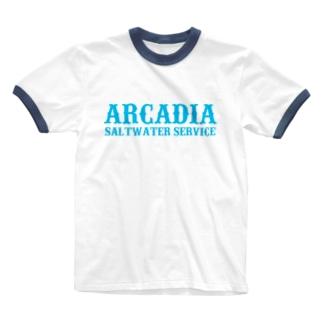 ARCADIA SALTWATER SERVICE BLUE Ringer T-shirts
