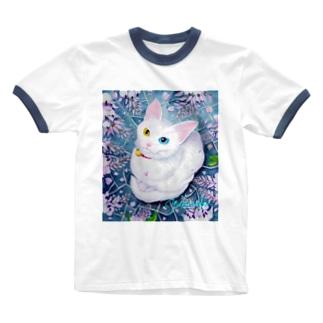 雨の花が咲いたニャ~! Ringer T-shirts