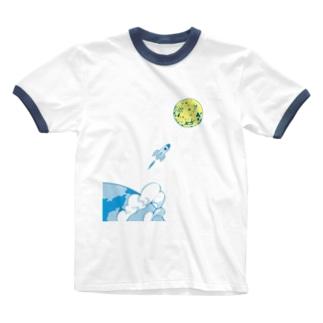 宇宙 ロケット 月 トップス Ringer T-shirts