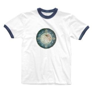 モザイクアート*オウム貝 Ringer T-shirts