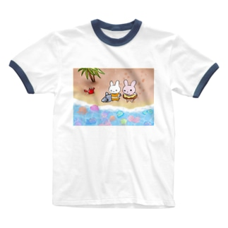 さぎうさぎさぎー Ringer T-shirts
