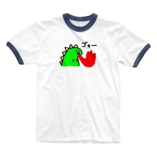 ダイナソーが火吹いてるやつ Ringer T-shirts