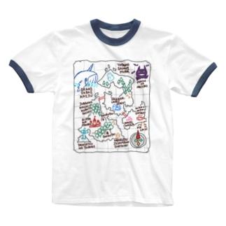 ぼうけんの地図(白) Ringer T-shirts