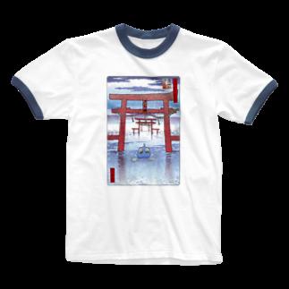 有明ガタァ商会の名所佐賀百景「大魚神社 海中鳥居」 Ringer T-shirts