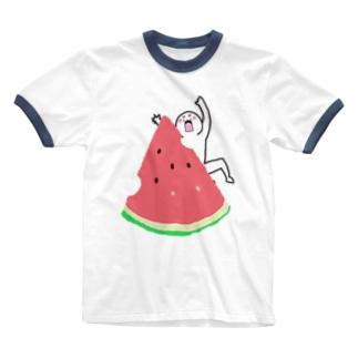 【なにか】スイカ Ringer T-shirts