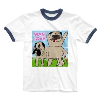 パグ Wan Love Ringer T-shirts