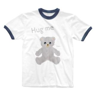 【Hug me】(白くま) Ringer T-shirts