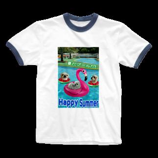 みにゃのペキッコ倶楽部(夏だプールだ) Ringer T-shirts