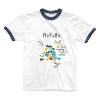 ROBOBO「ぴにゃロボ」 Ringer T-shirts