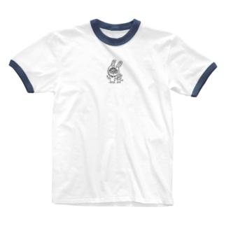 うさコスでんすけ Ringer T-shirts