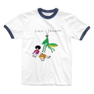 背後にカマキリ Ringer T-shirts