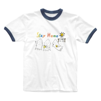 STAY HOME モンゴイカ Ringer T-shirts