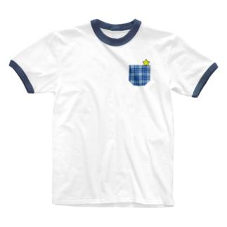 Yokohama blue チェック柄ポケットとほしさん  Ringer T-shirts
