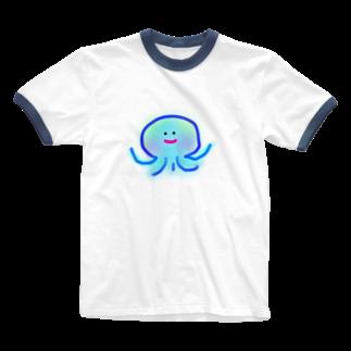 navy_marcのおちび くらげ Ringer T-shirts