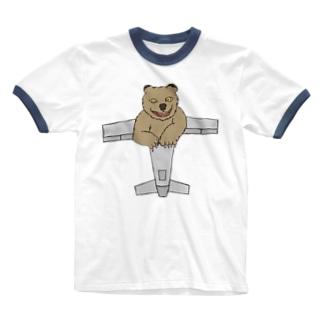 ひこうきぐま Ringer T-shirts