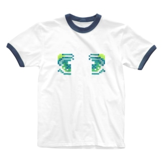 ドット絵おめめ Ringer T-shirts