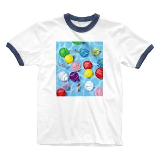夏を浮かべる Ringer T-shirts