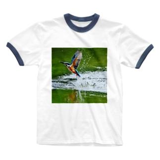 【にこらび】サロベツのカワセミ Ringer T-shirts