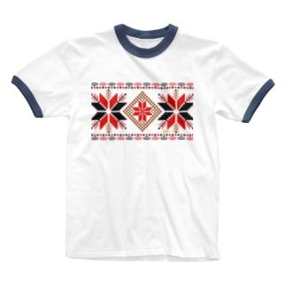 オーナメントスタークラシックパターン Ringer T-shirts