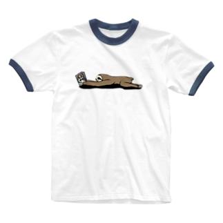 本と、なまけもの(かげなし) Ringer T-Shirt