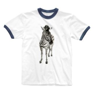 Animals シリーズ 〜グラントシマウマ〜 Ringer T-shirts