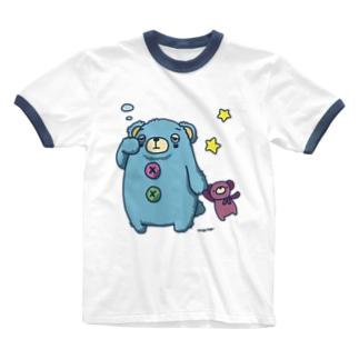 くまのあるくま Ringer T-shirts