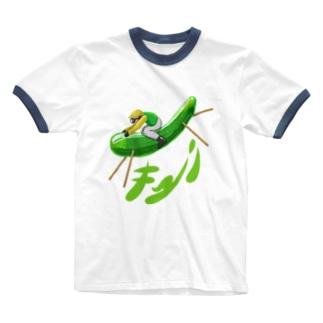 Slow Typingのサラブレッドキューリ 226 Ringer T-shirts