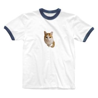 見上げる白い男 Ringer T-shirts