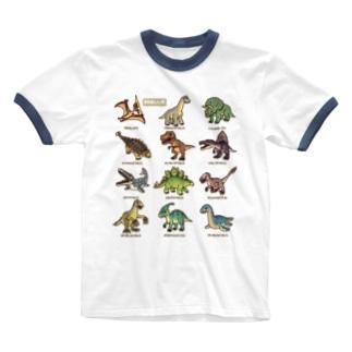 恐竜図鑑 Ringer T-Shirt