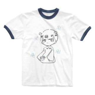 ブルーチャイナちゃん Ringer T-shirts
