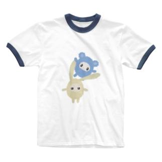 しおはね玩具店の肩ぐるまふれんず Ringer T-shirts