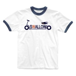 キックボード風スワローロゴ Ringer T-shirts