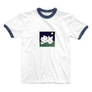 オネムな白きつね Ringer T-shirts