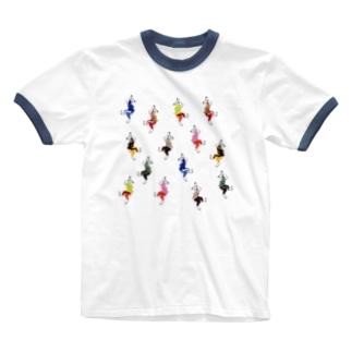 うさダンス総柄 Ringer T-shirts