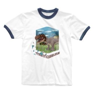 ティラノサウルス Ringer T-shirts