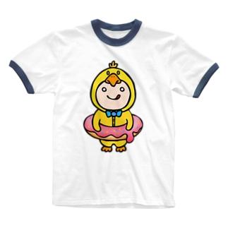 着せられてるベビー(ひよこ) Ringer T-shirts