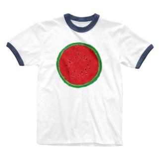 スイカ(赤) Ringer T-shirts