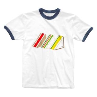 三角サンド3つ Ringer T-shirts