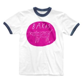 イノシシ〜〜〜 Ringer T-shirts