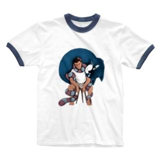 巻きつく猫 Ringer T-shirts