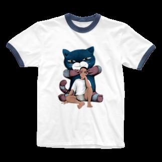 Dark blancoの視覚を奪う猫 Ringer T-shirts