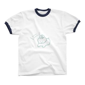 お散歩ワヌちゃん(水色) リンガーTシャツ