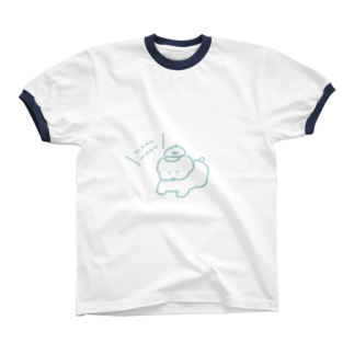 ワヌ山のお散歩ワヌちゃん(水色) リンガーTシャツ