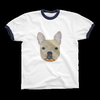 Keiko Suzukiのフレンチブルドッグ  Ringer T-shirts