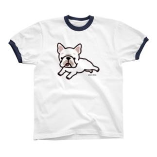 走るフレンチブルドッグ(クリーム) リンガーTシャツ