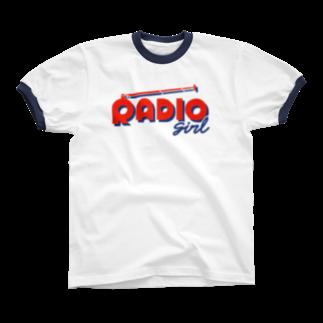 ねこぜもんのRADIO girl リンガーTシャツ