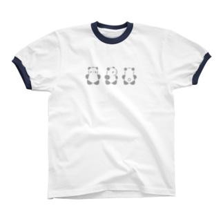 くるりんぱんだ(大)(Gray) Ringer T-shirts