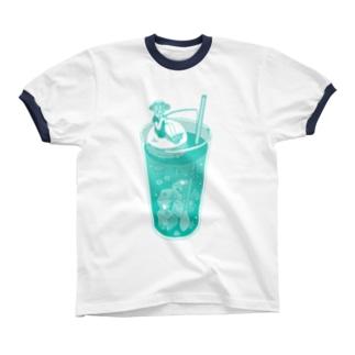 クリームソーダの海 Ringer T-shirts