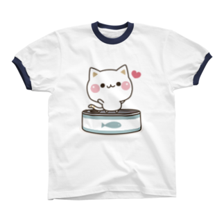 DECORの気づかいのできるネコ さかな缶 Ringer T-shirts