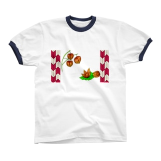 矢がすりフレーム 枝つきホオズキ Ringer T-shirts